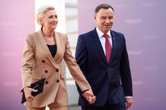 Agata Kornhauser-Duda, First lady of Poland, Andrzej Duda, President of Poland. 13.09.2018. RUNDALE, LATVIA. Agata Kornhauser-Duda, First lady of Poland, Andrzej royalty free stock image
