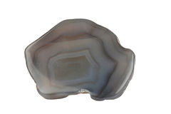 Agate. Mineral agate striped sawn up on white background is insulated Stock Photography