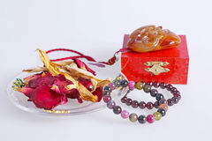 Agate bracelet with dried flowers stock image