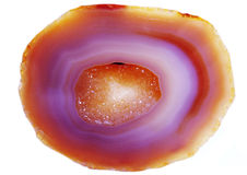 Agate with chalcedony geological crystal Royalty Free Stock Images