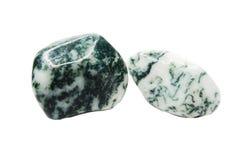 Agate de mousse avec le cristal géologique de chalcedony images libres de droits