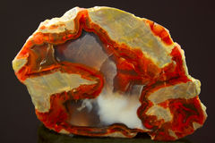Agate with iridescent drawing. On a dark background Stock Photo