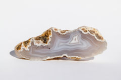 Agate. Polished white tile - natural mineral Royalty Free Stock Image