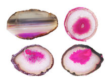 Agate stones collection. Isolated on white background Royalty Free Stock Photos