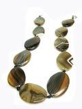 agaten beads färgad brown Arkivbilder