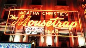 Agatha Christie το παιχνίδι ποντικοπαγήδων στο θέατρο Λονδίνο του ST Martins απόθεμα βίντεο