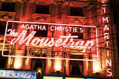 Agatha Christie The Mousetrap - legendariska musikaliska London UK Arkivfoto