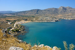 Agathi beach in Rhodes stock photo