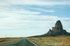 Agathla Peak, Monument Valley, highway in Arizona Royalty Free Stock Images