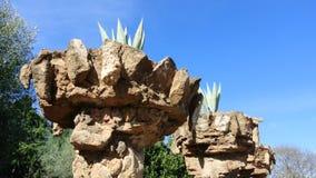 Agawa w kamieniu puszkował drzewka palmowe w Parkowym Guell Barcelona Zdjęcia Stock