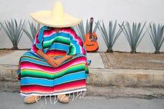 agawy gnuśnego mężczyzna meksykański serape siedzi Fotografia Royalty Free