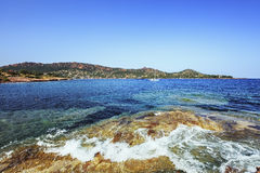 Agay bay in Esterel rocks beach coast and sea. Cote Azur, Proven Royalty Free Stock Photo