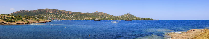 Agay bay panorama in Esterel rocks beach coast and sea. Cote Azu Royalty Free Stock Photo