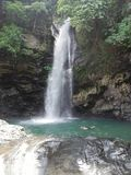 Agbalala Falls hidden in tropical rain forest on Mindoro, Philippines stock image