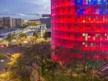 Agbar塔在晚上在巴塞罗那 库存照片