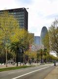 Agbar塔在巴塞罗那 免版税库存照片