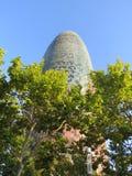 Agbar塔是38层塔在广场Catalunya附近 免版税库存照片