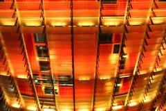 Agbar塔黄色和红色LED点燃细节 库存图片