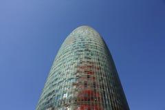 agbar barcelona skyskrapatorn Arkivfoto