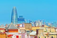 Agbar Góruje Torre chwały i panoramę centrum Barc Obrazy Royalty Free