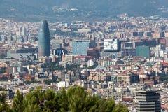 Agbar torn Barcelona Spanien Arkivfoto