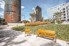 Agbar torn i Barcelona Arkivbilder