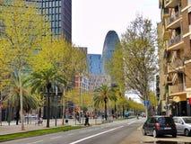 Agbar torn i Barcelona Fotografering för Bildbyråer