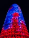 Agbar torn i Barcelona på natt 0452 Arkivfoton
