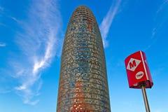 Agbar torn i Barcelona Spanien Arkivfoto