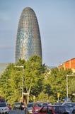 Agbar torn i Barcelona Spanien Arkivfoton