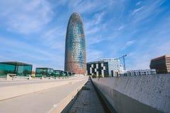 Agbar torn i Barcelona, Spanien Arkivfoton