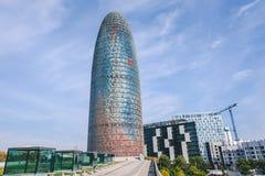 Agbar torn i Barcelona, Spanien Arkivbilder
