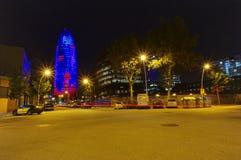 Agbar torn i den Barcelona staden, Spanien staden tänder nattplats Royaltyfri Fotografi