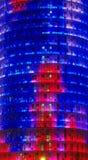 Agbar torn i den Barcelona staden, Spanien staden tänder nattplats Arkivbild