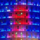Agbar torn i den Barcelona staden, Spanien staden tänder nattplats Royaltyfri Bild