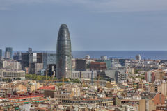 Agbar tower. Barcelona, Spain - August 10, 2016; Barcelona View of the Agbar Tower that stands out among the other buildings Royalty Free Stock Photography