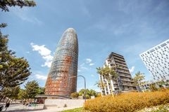 Agbar tower in Barcelona. BARCELONA, SPAIN - August 16, 2017: View on the financial district with modern skyscrapers and famous Agbar tower in Barcelona city Royalty Free Stock Photo
