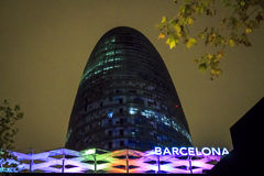 Agbar Tower in city of Barcelona, Spain Royalty Free Stock Photos