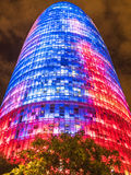 The Agbar Tower colors. BARCELONA, SPAIN - JULY 24, 2015: Night view of the Agbar tower constructed in 2005. Since then it's a Barcelona landmark Stock Images