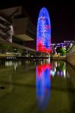 Agbar tower. Lighting of the Agbar Tower in Barcelona Royalty Free Stock Image