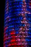 Agbar Tower. Lit up multicolored at night Stock Images