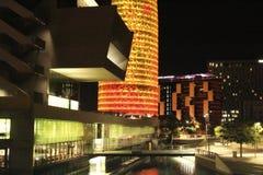 Agbar wierza iluminujący w kolorze żółtym i czerwieni Obrazy Stock