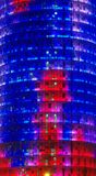 Agbar wierza w Barcelona mieście, Hiszpania miasto światła na noc Fotografia Stock