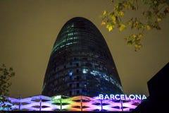 Agbar wierza w mieście Barcelona, Hiszpania Zdjęcia Royalty Free