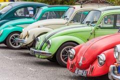 AGDE, FRANCES - 9 SEPTEMBRE 2017 : Groupe de scarabées de Volkswagen exhibés au cours de la 16ème réunion de Volkswagen du ` Agde Photos stock