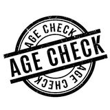 Age Check rubber stamp. Grunge design with dust scratches. Effects can be easily removed for a clean, crisp look. Color is easily changed Stock Illustration