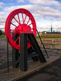 Age of Coal Mining - Pithead Wheel. Pithead wheel from the age of coal mining. Cardiff Bay, Wales, UK Stock Photos