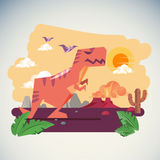 The Age of Dinosaurs with Volcano Eruption background -  illustartion Stock Photography