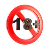 Age limit (18+) round symbol isolated. Adult content as age limit (18+) round symbol sign isolated on white Stock Photo