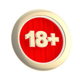 Age limit (18+) round symbol isolated. Age limit (18+) round symbol made of gold ring and red curtain isolated on white Stock Photography